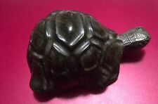 Vintage SUXO Carved Stone Turtle Hand Carved Black & Brown Verdite African Stone