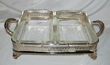F.B.Rogers Silver Double Casserole Caddy w/  2 Fire King Baking Dishes Inserted