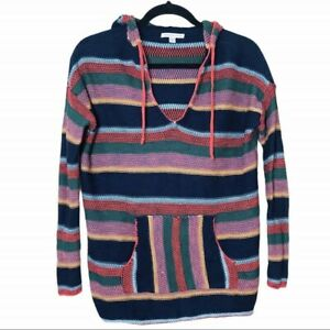 American Eagle AEO Knit Hoodie Sweater Top Striped Multi Color Jacket S Hippie