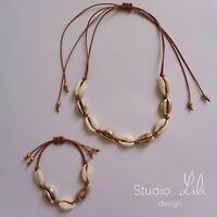 Collier et Bracelets coquillages dorés cordon marron Studio LiLi