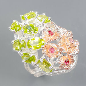 Handmade jewelry set Peridot Ring Silver 925 Sterling  Size 7 /R178082