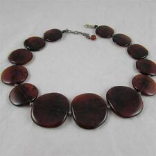 Translucent Orange & Black Acrylic Disc Necklace (1410 0184)