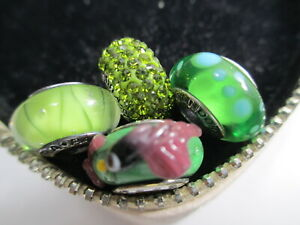 4 Pandora Murano Bead Charm Christmas Olive Green Looking Glass Bubble Crystals