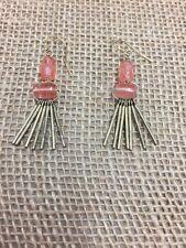 """Silpada K & R Brass """"Sweet Pea"""" Pink Quartz Earrings KRW0053"""