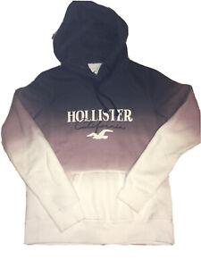 Hollister California XS Blue Purple Cream Ombre Hoodie Sweatshirt Thick & Comfy
