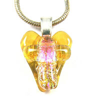 "Dichroic Glass HEART & Cross PENDANT (Silver) Amber Clear Pink Peach 1/2"" 12mm"