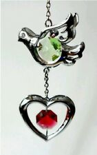 DOVE & HEART CRYSTAL HANGING ORNAMENTS CRYSTOCRAFT SWAROVSKI VALENTINES DAY GIFT