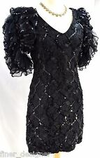 BETSY & ADAM SEQUINS TEA PARTY COCKTAIL PROM BLACK DRESS TULLE LACE SIZE 5 6 VTG
