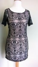 BNWT Topshop lace dress grey over pale shell pink lining cut out back size UK8