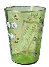 Verre Émaillé Teinté Souvenir de Béziers au Décor Floral Antique Enamelled Glass