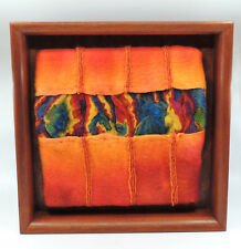 Colorplay XV by Sharron Parker Felt Art Wall Hanging Signed Mounted Wood Frame