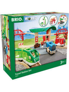 BRIO Travel Train Set With Bus Station Wooden Toy Train Railway
