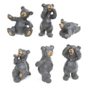 "Set of 6 BLACK BEAR Resin Figurines, 3"" Tall, by Slifka"