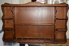 "EARLY AMERICAN VINTAGE WOODEN WALL HANGING SHELF 41 X 26 X 5.5"" PLATE GROOVE"