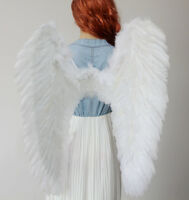 🔥Christmas EXTRA LARGE White Feather Angel Wing Photo Prop adult  Women Costume