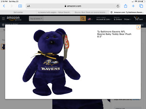 Baltimore Ravens TY Beanie Babies Baby Plush New With Original Tags RARE