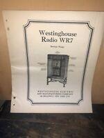 Westinghouse Radio Model WR7 Service Notes, Schematics. Original Copy!