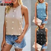 US Women's Polka Dot Sleeveless Tank Blouse Ladies Casual Summer Beach Vest Tops