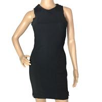 All Saints Bodycon Dress Size 8 Black Italian Cloth Size Zip Sleeveless Stretchy