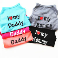 Pet Dog Cat Vest I Love Daddy Mommy Summer Puppy T-shirt Top Jumpsuit Clothes