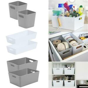 Wham Studio Grey Baskets Mrs Hinch Kitchen Bathroom Home Office Trays Boxes