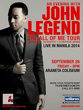 "JOHN LEGEND ""ALL OF ME TOUR"" 2014 MANILA, PHILIPPINES CONCERT POSTER -Soul Music"