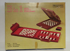 Magnetic Backgammon / Chess Set in Attache Case, Complete with Instructions