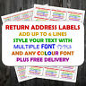 Personalised ANY COLOUR TEXT Printed Sticky Address Labels Stickers +P&P