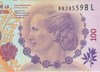 ARGENTINA EVITA bank note 100 pesos ,  #88285598 L uncirc.PRICE IMPROVED !