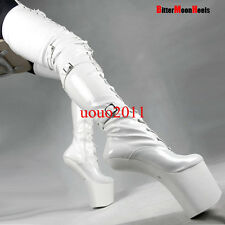 Womens 20cm Less Wedge Heel Over Thigh Knee High Boot Lace Up Nightclub Buckles