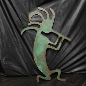"Kokopelli Metal Art Wall Hanging Heavy 16"" W x 24"" T Copper Look"