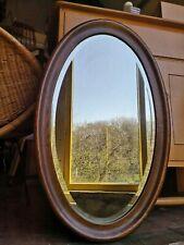 Antique Dark Oak Oval hanging Mirror Bevelled Glass