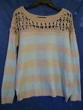 LOVE STITCH Baby Blue & Gray OVERSIZED SWEATER Open-Weave Shoulders SO SOFT! S