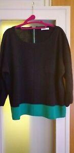 TUNICA in maglia 100% cotone misura XL nera con ampia fascia verde smeraldo