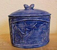 Alte Keramik Deckeldose Bonboniere Keks Dose mit Enten Blau 19x18 cm Landhaus