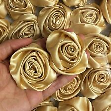 "12PC Gold 2"" Satin Ribbon Rose Flowers DIY Wedding Bridal Dress Bouquet 50mm"