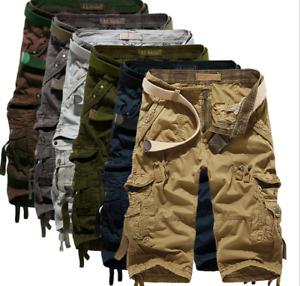 Herren Cargo Sommer Shorts kurze Hose Short Bermuda Casual Pants Baumwolle Neu