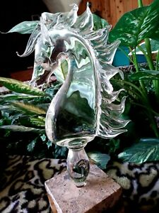 """STALLION LEADED CRYSTAL HORSE SCULPTURE,ONE-OF-A-KIND ORIGINAL,1981 MINT,New 15"""""""