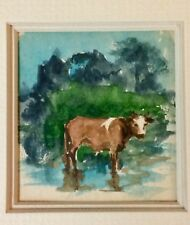 THOMAS BANCROFT ORIGINAL WATERCOLOR OF COW ~ MATTED & FRAMED ~ SWEET GIFT!