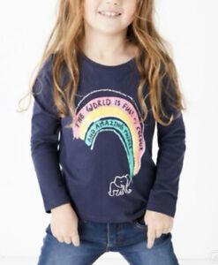 NEW Girls M&S Rainbow Girls Long Sleeve T-shirt Top Amazing Kind 2 to 7 Years
