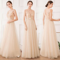 Ever-Pretty Mesh V-Neck Long Bridesmaid Prom Dresses Formal Cocktail Party Gowns