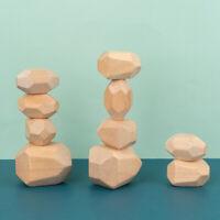 Baby Toy Natural Wooden Rocks Stacking Creative Balancing Stones Building Blocks