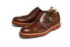 Salvatore Ferragamo Mens British Tan Leather Double Monk Strap Shoes Size 10.5EE