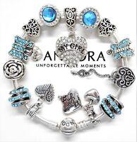 "Authentic Pandora Bracelet Silver Bangle ""My Girl"" & Love Story European Charms."