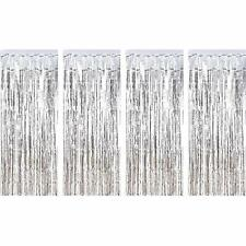 4pk SILVER Fringe Metallic Curtain Tinsel Backdrop Prom Party Decorations 3x8ft