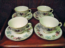 ROYAL DOULTON 4 CUPS AND SAUCERS CAMELOT PATTERN TC1016 TRANSLUCENT CHINA c 1970