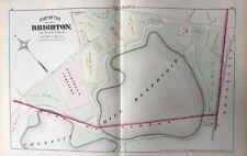 1875 HOPKINS SUFFOLK CO. BRIGHTON BOSTON ALLSTON MA EVERGREEN CEMETERY ATLAS MAP