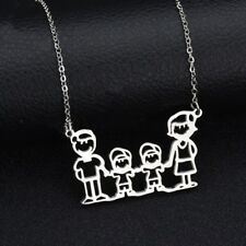 NEW Happy Family Silver 316L Stainless Steel Titanium Pendant Necklace AW23