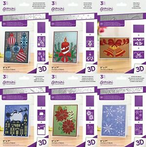 """GEMINI - 5 x 7"""" 3D Embossing Folders & Stencil Christmas by Crafters Companion"""