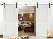 12FT Black Steel Barn Sliding Door Hardware Set w/ 2x36
